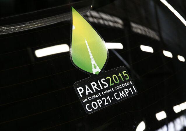 Logo de la Cumbre del Cambio Climático de París (archivo)