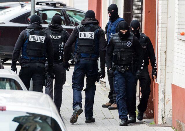 Policías en Bruselas