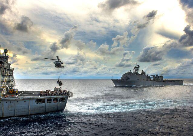 Buques de la Armada de EEUU en el mar de China Meridional