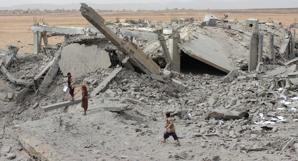 Edificio destruido en Saada, Yemen