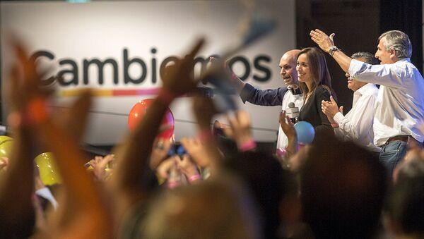 Jefe de gobierno electo de la ciudad de Buenos Aires, Horacio Rodríguez Larreta, la gobernadora electa por la provincia de Buenos Aires, María Eugenia Vidal, el gobernador electo por la provincia Mandoza, Alfredo Cornejo, y el gobernador electo de la provincia de Jujuy (norte), Gerardo Morales - Sputnik Mundo