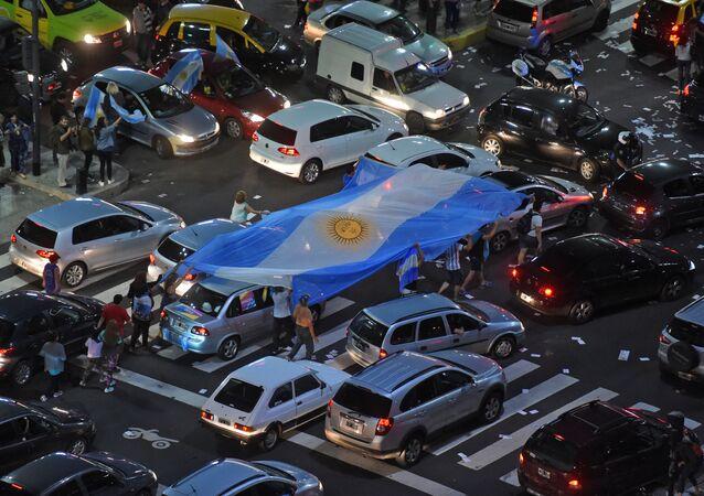 Partidarios de Mauricio Macri celbran su victoria en las calles de Buenos Aires