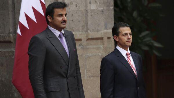 Presidente de México Enrique Peña y emir de Catar, jeque Tamim bin Hamad al Thani - Sputnik Mundo