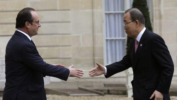 François Hollande, presidente de Francia y Ban Ki-moon, secretario general de la ONU - Sputnik Mundo
