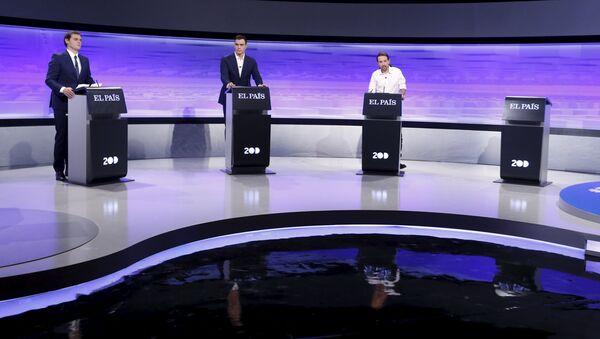 Candidatos Albert Rivera, Pedro Sánchez y Pablo Iglesias - Sputnik Mundo