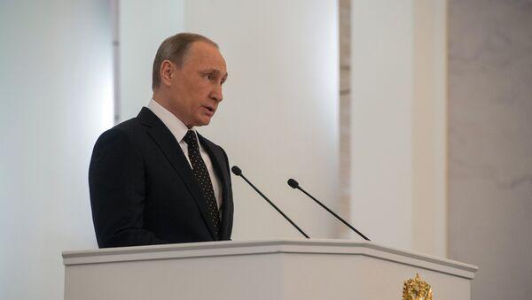 Vladímir Putin durante el mensaje anual a la Asamblea Federal - Sputnik Mundo