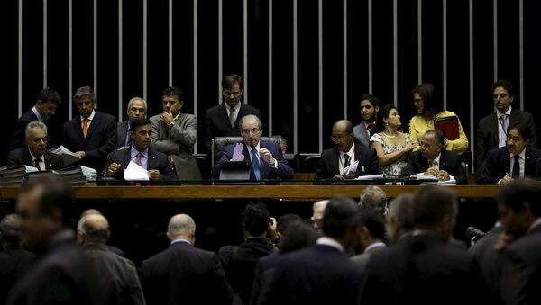 Eduardo Cunha, presidente de la Cámara de Diputados de Brasil (centro) - Sputnik Mundo