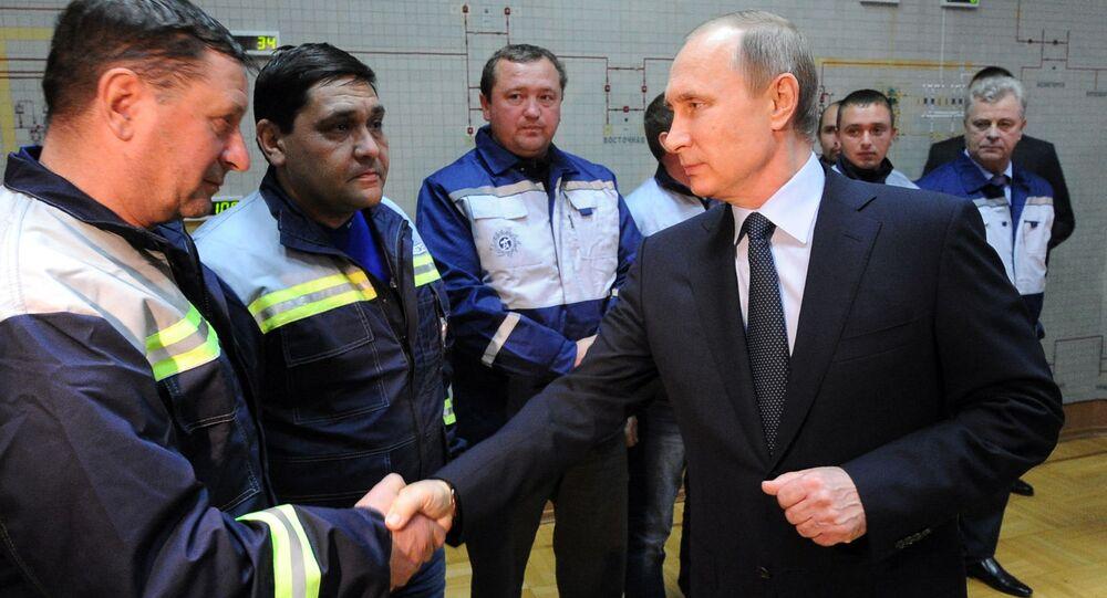 Vladímir Putin, presidente de Rusia, durante el viaje a Crimea