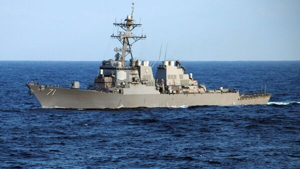 The guided-missile destroyer USS Ross (DDG 71) crosses the Atlantic Ocean as part of the Nassau Expeditionary Strike Group - Sputnik Mundo