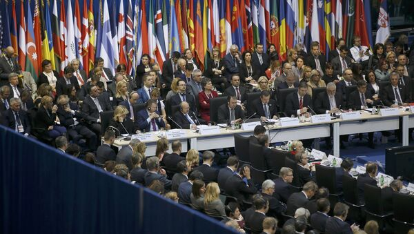 General view of delegates attending the Organization for Security and Cooperation in Europe (OSCE) Ministerial Council meeting at the Belgrade Arena (Kombank Arena) in Belgrade, Serbia December 3, 2015. - Sputnik Mundo