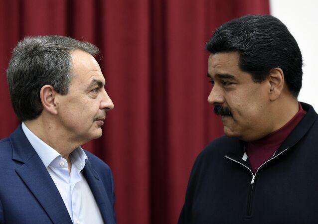 Expresidente del Gobierno de España, José Luis Rodríguez Zapatero y presidente de Venezuela, Nicolás Maduro