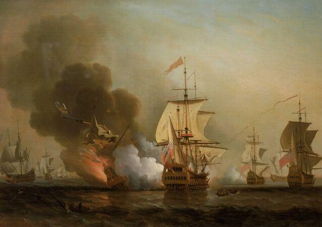 El colapso del galeón San José en la ilustración de Samuel Scott
