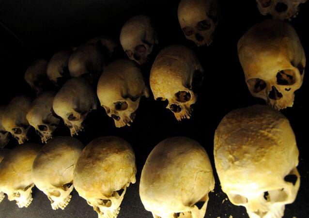 Cráneos de las víctimas del genocidio en Ruanda