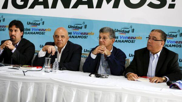 Jesús Torrealba, secretario ejecutivo de la Mesa de la Unidad Democrática (MUD), durante una rueda de prensa de la coalición opositora MUD en Caracas - Sputnik Mundo