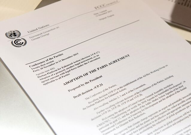 Primera página del texto del Acuerdo de París