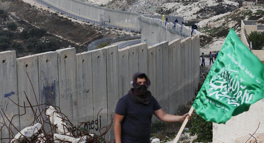 Un palestino con la bandera del grupo Hamás