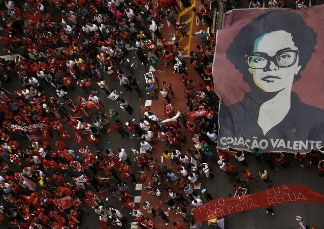 Protesta contra el impeachment contra la presidenta Dilma Rousseff