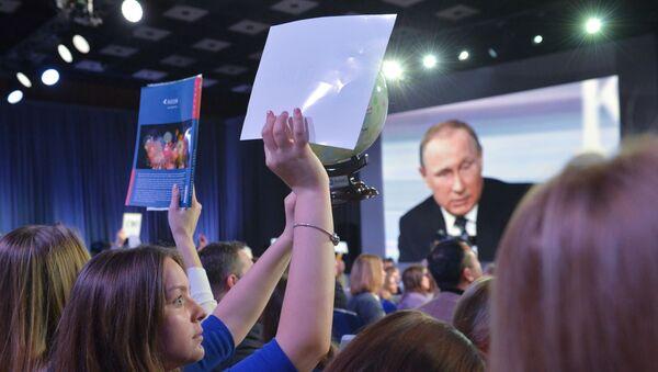 Las emociones en la gran rueda de prensa de Vladímir Putin - Sputnik Mundo