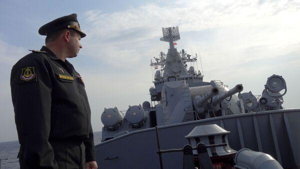 Visita de periodistas extranjeros al crucero portamisiles Moskvá - Sputnik Mundo