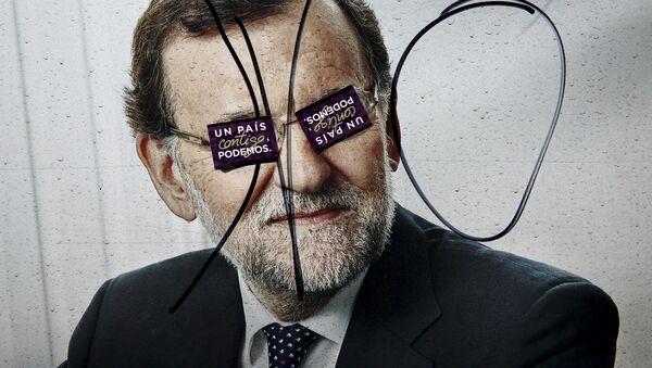 Un cartel electoral con la imagen de Mariano Rajoy en Madrid - Sputnik Mundo