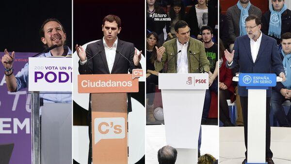 Pablo Iglesias, Albert Rivera, Pedro Sánchez, Mariano Rajoy (i-d) - Sputnik Mundo