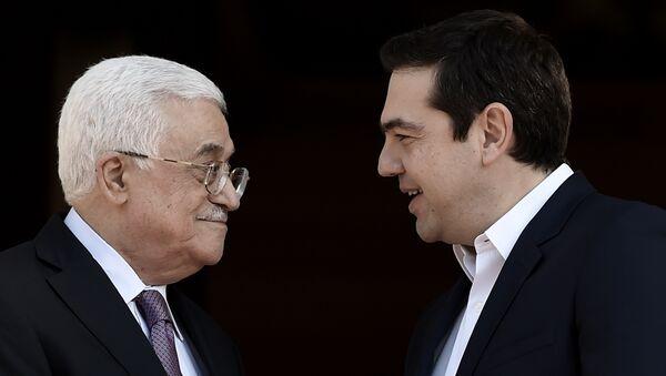 Presidente de Palestina, Mahmud Abás y primer ministro de Grecia, Alexis Tsipras durante una reunión en Atenas - Sputnik Mundo
