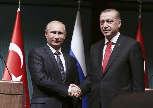 Presidente de Rusia, Vladímir Putin con su homólogo turco, Tayyip Erdogan (archivo)