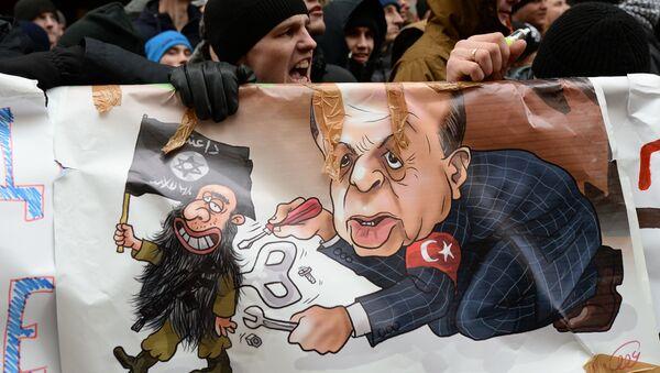 Una manifestación en contra de las acciones de Turquía en Moscú - Sputnik Mundo