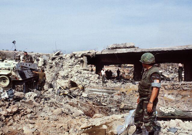 Сuartel de los marines estadounidenses destruido, Beirut, 1983