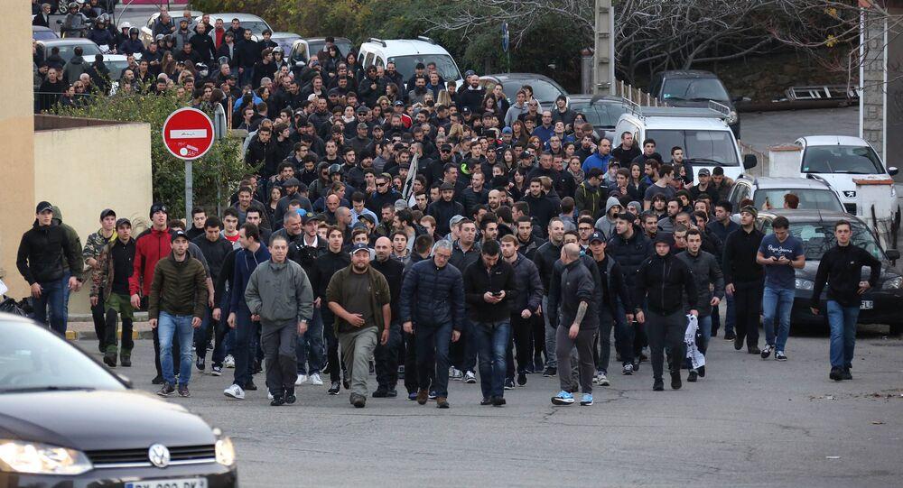 Manifestación de protesta en Ajaccio, la capital de la isla francesa de Córcega