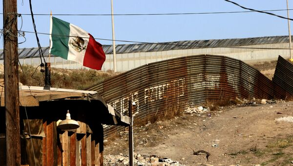 A Mexican flag waves close to the wall which separates Mexico from the United States 24 January 2006, in Tijuana, state of Baja California - Sputnik Mundo