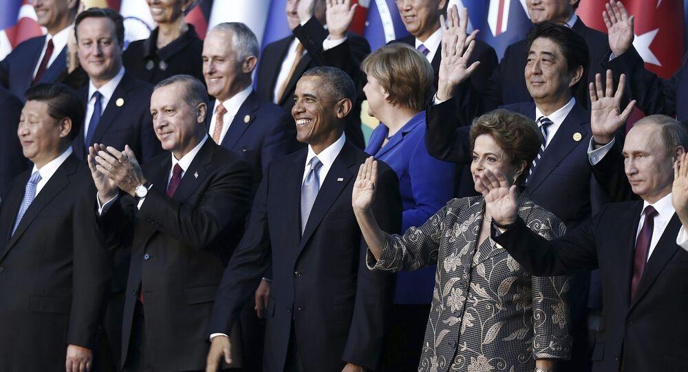 Líderes mundiales durante la cumbre de G20 en Antalya (archivo)