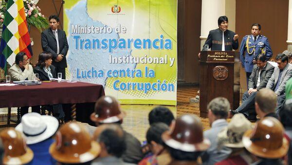 Presidente de Bolivia, Evo Morales durante la presentación de la ley contra la corrupción - Sputnik Mundo
