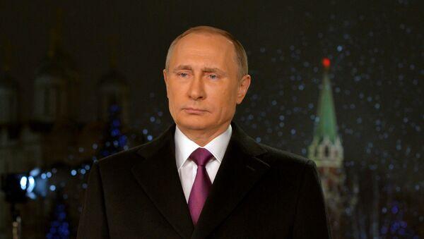 Presidente de Rusia, Vladímir Putin durante el discurse de Año Nuevo - Sputnik Mundo