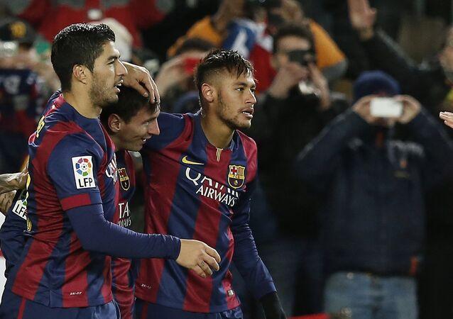Lionel Messi, Luís Suárez  y Neymar, jugadores del FC Barcelona