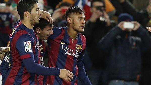 Lionel Messi, Luís Suárez  y Neymar, jugadores del FC Barcelona - Sputnik Mundo