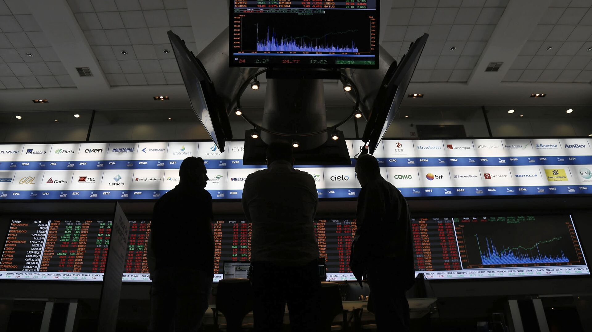 Picture taken at Sao Paulo's Stocks Exchange (Bovespa) headquarters in downtown Sao Paulo, Brazil, on August 24, 2015 - Sputnik Mundo, 1920, 08.03.2021