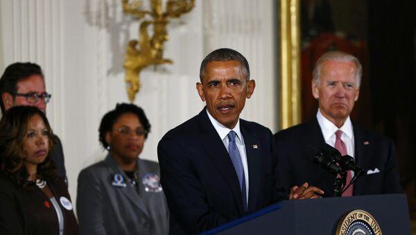 Presidente de EEUU, Barack Obama, durante el discurso sobre control de armas - Sputnik Mundo