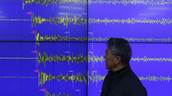 Earthquake and Volcano of the Korea Meteorological Administration Director General Yun Won-tae stands in front of a screen showing seismic waves that were measured in South Korea, in Seoul Wednesday, Jan. 6, 2016 - Sputnik Mundo