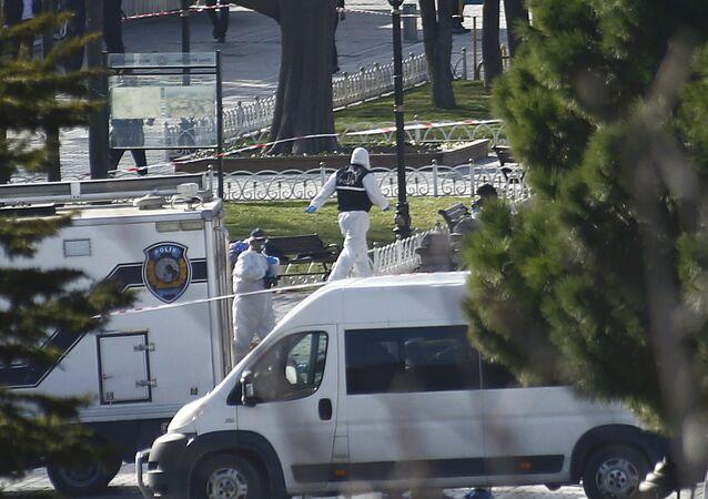 El lugar del atentado en Estambul