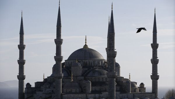 A view of the Sultan Ahmed Mosque, better known as the Blue Mosque in the historic Sultanahmet district of Istanbul, the area of an explosion, Tuesday, Jan. 12, 2016. - Sputnik Mundo