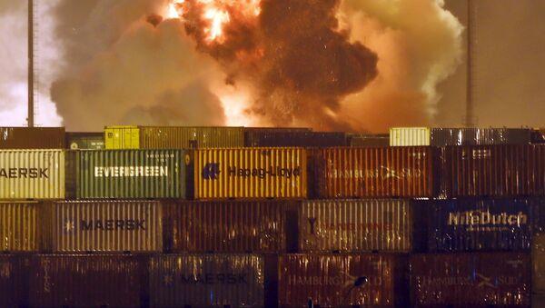 Incendio en una de las terminales de carga del puerto de Guarujá - Sputnik Mundo