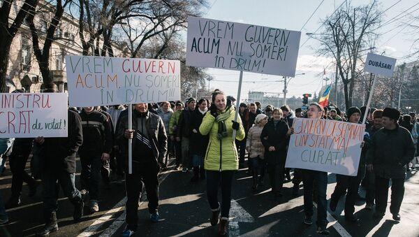 La oposición moldava sale a las calles en protesta contra nuevo Gobierno, el 16 de enero de 2016 - Sputnik Mundo