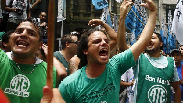 Una demostración en Buenos Aires contra las medidas económicas introducidas por el presidente Mauricio Macri - Sputnik Mundo