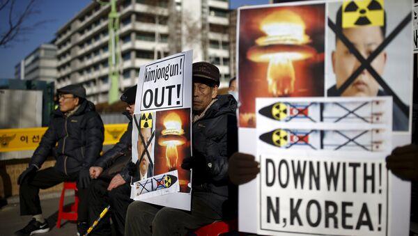 Una manifestación anti-norcoreana en Seúl, Corea del Sur - Sputnik Mundo