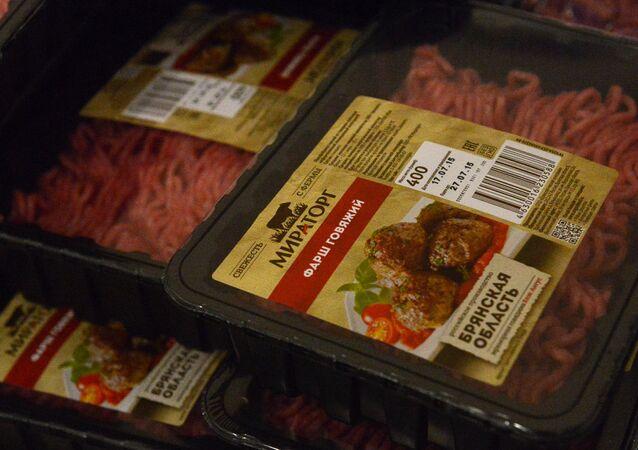 Carne molida de res de la empresa Miratorg