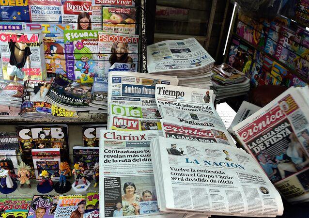 Diario Clarín en un quiosco de Buenos Aires