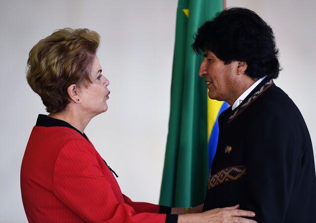 La presidenta de Brasil, Dilma Rousseff, y el presidente de Bolivia, Evo Morales (archivo)