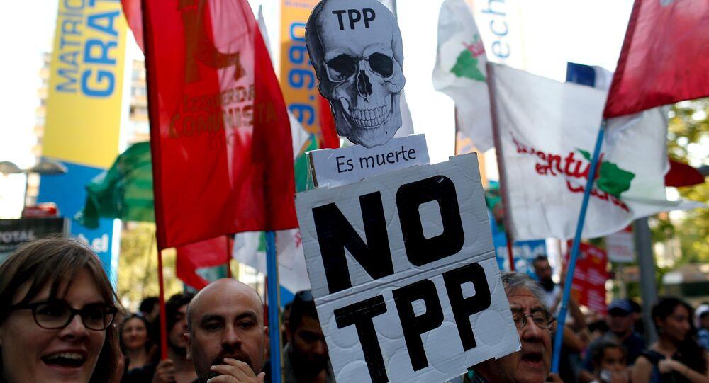 Protesta contra TPP en Chile (archivo)