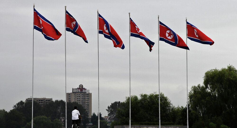 Banderas de Corea del Norte en Pyongyang